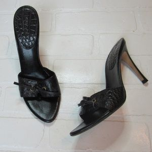 Gucci Black Leather High Heel Mules Size 7